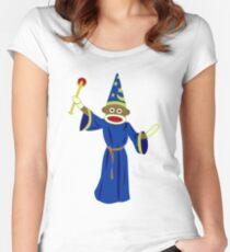 Sock Monkey Wizard Women's Fitted Scoop T-Shirt