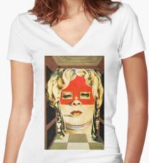 Salvador Dali Mae West Surrealist Famous Paintings Women's Fitted V-Neck T-Shirt