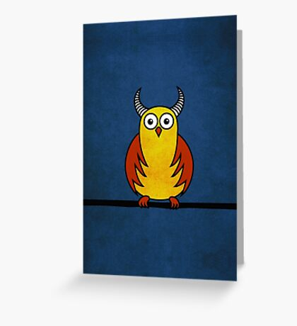Funny Cartoon Horned Owl  Greeting Card