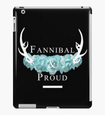 'Fannibal & Proud' w/ Flower (Black Background/White Font) iPad Case/Skin