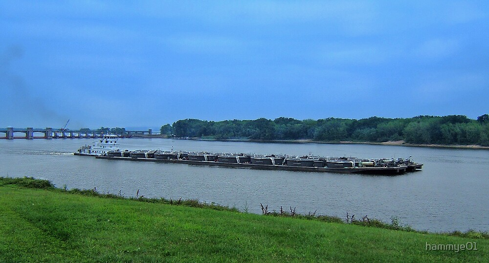 Barge on the Mississippi River by hammye01