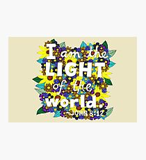 I Am The Light Of The World, John Bible Verse, Lettering, Flower And Leaf Doodle, Inspirational Photographic Print