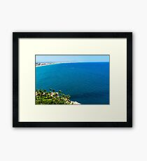Aerial View Over Mediterranean Sea In Spain With Peniscola City In Sight Framed Print