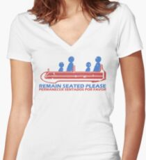 Remain Seated Please Women's Fitted V-Neck T-Shirt