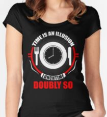 Time is an Illusion, Lunchtime doubly so - Hitchhiker's Guide to the Galaxy Women's Fitted Scoop T-Shirt