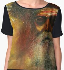 Graphic Tshirt Painting Bold colors Old man with a beard.  Chiffon Top