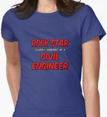 Rock Star Cleverly Disguised As A Civil Engineer Womens Fitted T-Shirt