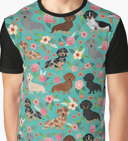 Dachshund florals flower pet portrait dog art dachsie doxie pet art dog breeds by PetFriendly Graphic T-Shirt