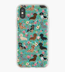 Dachshund florals flower pet portrait dog art dachsie doxie pet art dog breeds by PetFriendly iPhone Case