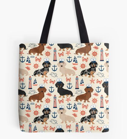 Dachshund nautical sailor dog pet portraits dog costumes dog breed pattern custom gifts by PetFriendly Tote Bag