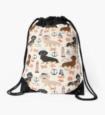 Dachshund nautical sailor dog pet portraits dog costumes dog breed pattern custom gifts by PetFriendly Drawstring Bag