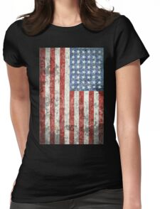 Vintage-Style US Flag Womens Fitted T-Shirt