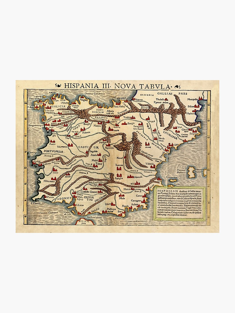 Map Of Spain For Printing.Map Of Spain 1542 Photographic Print