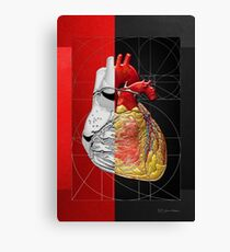 Dualities - Half-Silver Human Heart on Red and Black Canvas Canvas Print