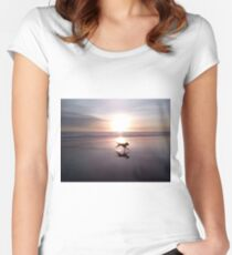 Dog Chasing Sunset in California Women's Fitted Scoop T-Shirt