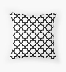 Black & White, Quatrefoil Pattern Throw Pillow