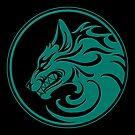 Knurren-aquamariner blauer und schwarzer Wolfs-Kreis von jeff bartels
