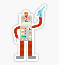 Raygun Robot Invasion Sticker