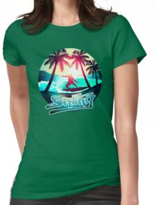 Surfing with palm trees Womens Fitted T-Shirt