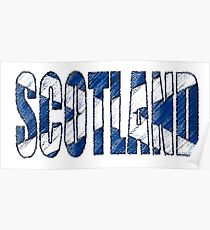 Scotland Font with Scottish Flag Poster