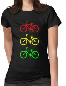 RED YELLOW GREEN BICYCLE PATTERN Womens Fitted T-Shirt