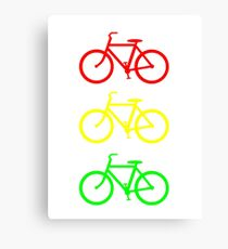 RED YELLOW GREEN BICYCLE PATTERN Canvas Print