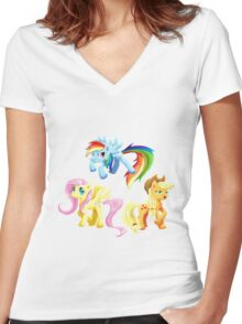 my little pony sticker pack Women's Fitted V-Neck T-Shirt