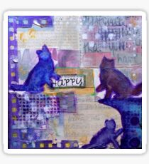 Happy Cats (Mixed Media) Sticker