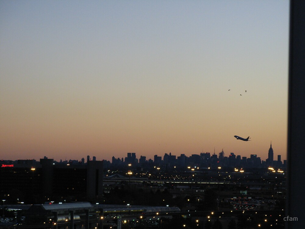 New York City Skyline at sunrise with airplane taking off by cfam