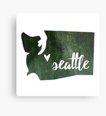 Seattle, Washington [green] Metal Print