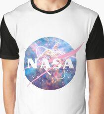 Pastel Nebula Nasa Logo Graphic T-Shirt