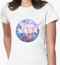 Pastel Nebula Nasa Logo Women's Fitted T-Shirt