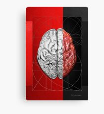 Dualities - Half-Silver Human Brain on Red and Black Canvas Canvas Print