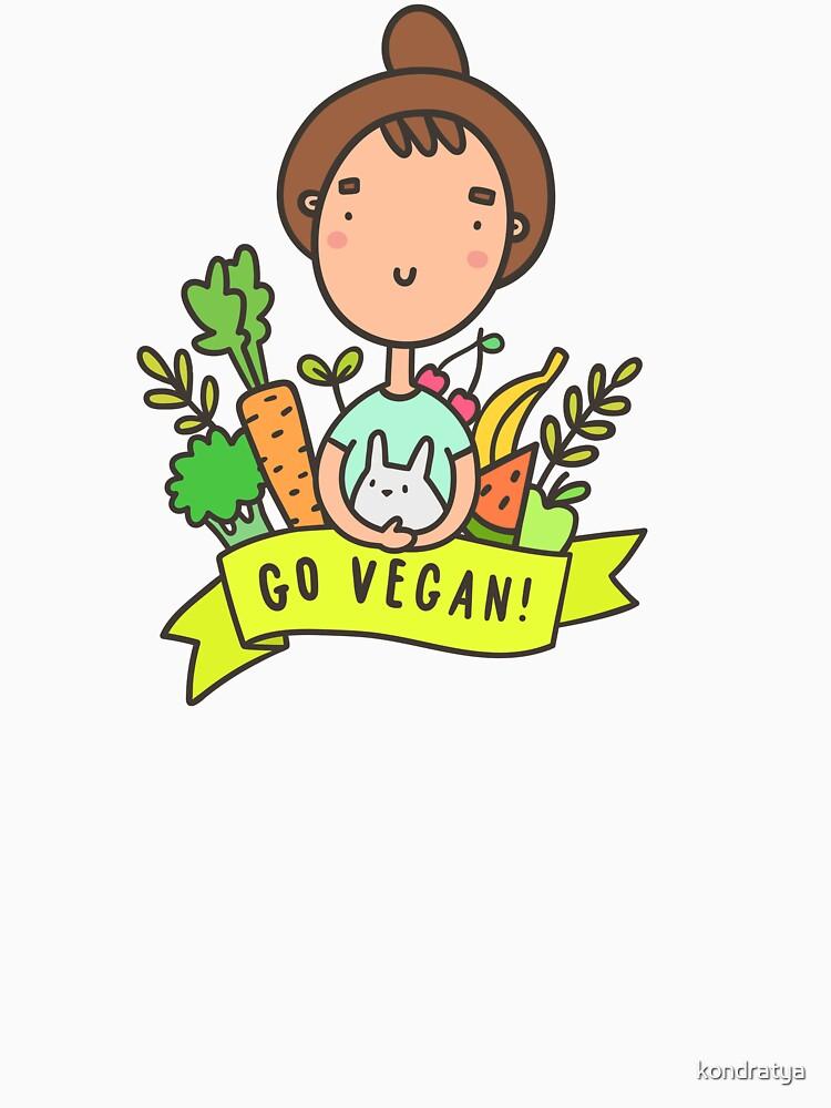 Go vegan! Cute girl with rabbit by kondratya