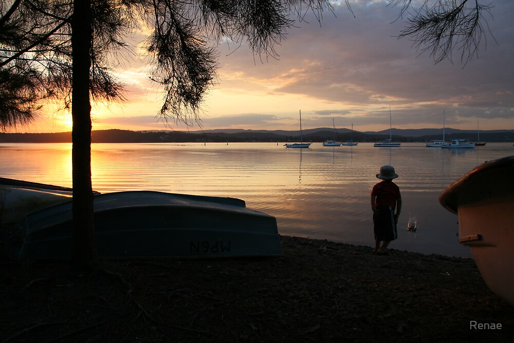 Sunset with my Nephew.... by Renae