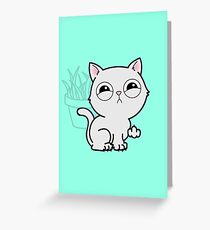 Kitty Knows Sign Language - Cat Giving Middle Finger Greeting Card