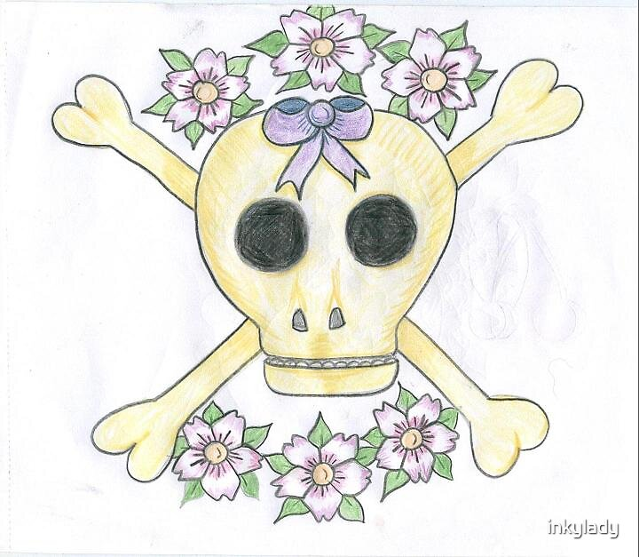 skull with bow  by inkylady