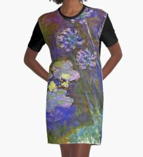 Claude Monet - Water Lilies And Agapanthus 1917 Graphic T-Shirt Dress