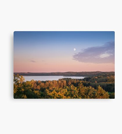 Landscape with evening light and moon Canvas Print