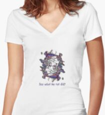 See what my cat did? Women's Fitted V-Neck T-Shirt