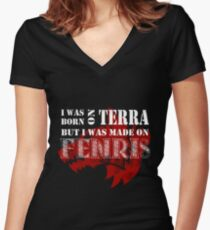Born on Terra, made on Fenris Women's Fitted V-Neck T-Shirt