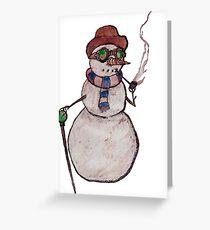 Smoking Steampunk Snowman Greeting Card