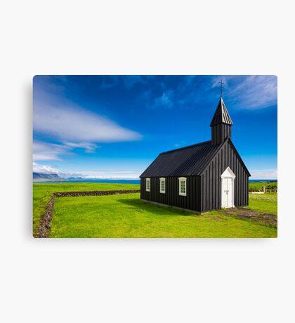 Budir black church in Iceland Canvas Print