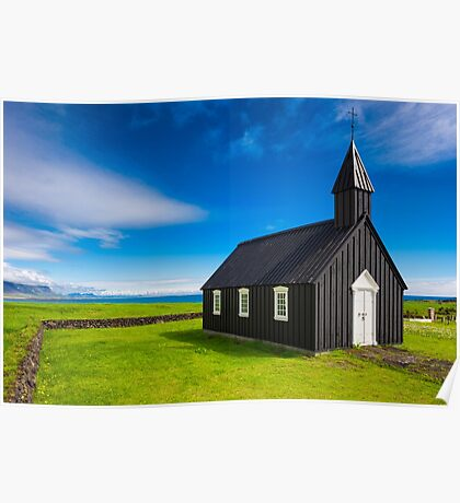 Budir black church in Iceland Poster