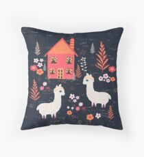 Mountain Chalet Alpacas Throw Pillow