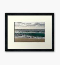 Rough Ocean - Aquamarine Wave and a Faraway Yacht from the Beach Framed Print