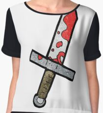 cartoon bloody sword Chiffon Top