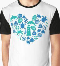 Love Sea Heart Shape Dolphin Animals Lover Marine Graphic T-Shirt