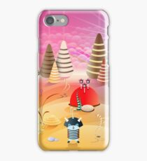 3D style colorful illustration with cartoon aliens, creatures, fantasy planet landscape iPhone Case/Skin