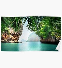 Tropical sea and rocks Poster